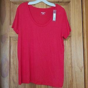 Merona, Women's, Red Short Sleeve Shirt Sz. LG NWT